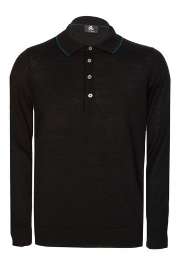 Paul Smith Contrast Trim Long Sleeve Knitted Polo Black