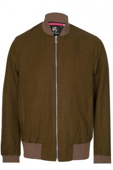 Paul Smith Linen Bomber Jacket Khaki
