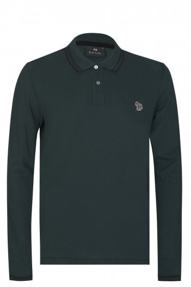 Paul Smith P.S Long Sleeved Zebra Logo Polo Green