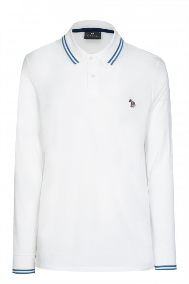 Paul Smith P.S Long Sleeved Zebra Logo Polo White