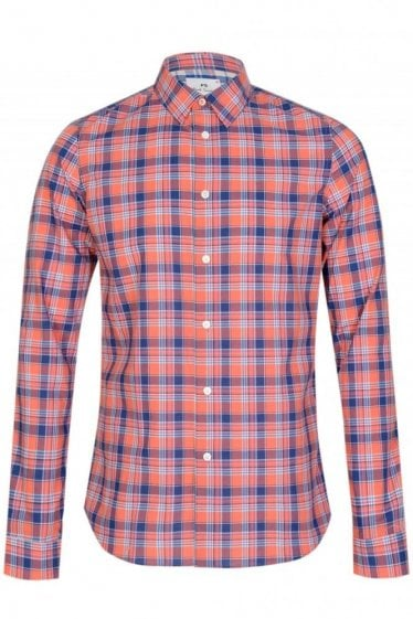 Paul Smith P.S Slim Fit Checked Shirt Coral
