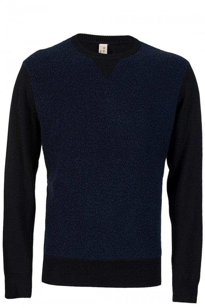 PAUL SMITH Red Ear Navy Fluff Jumper