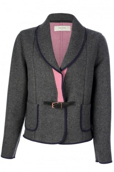 Paul Smith Women's Contrast Trim Front Buckle Jacket Grey