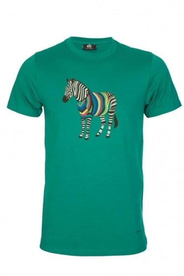 Paul Smith Zebra Print Slim Fit T-Shirt Green