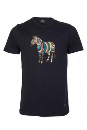 Paul Smith Zebra Print Slim Fit T-Shirt Navy