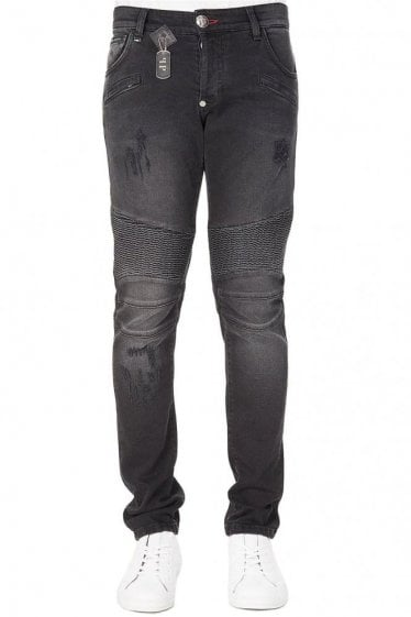 Philipp Plein Biker Fit Aggressive jeans Black