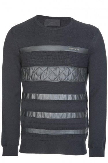 Philipp Plein Leather Paneled Knitted Jumper