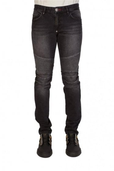 Philipp Plein 'Some Nights' Biker Straight Cut Jeans Black
