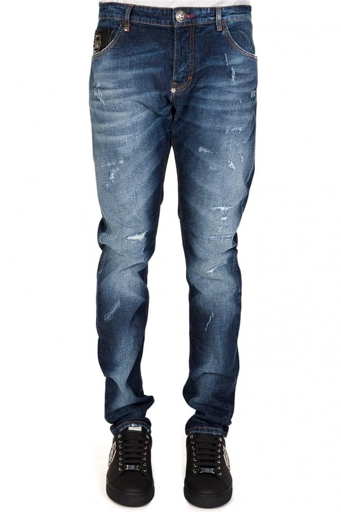 Straight Theater Makeup On Myself: Philipp Plein Super Straight 'Theater' Jeans Blue