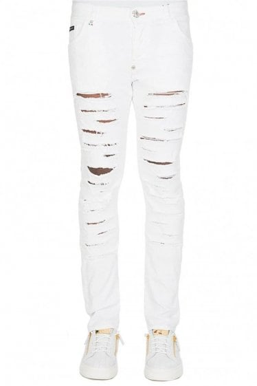 Phillip Plein Super Straight Cut Ripped Jeans White