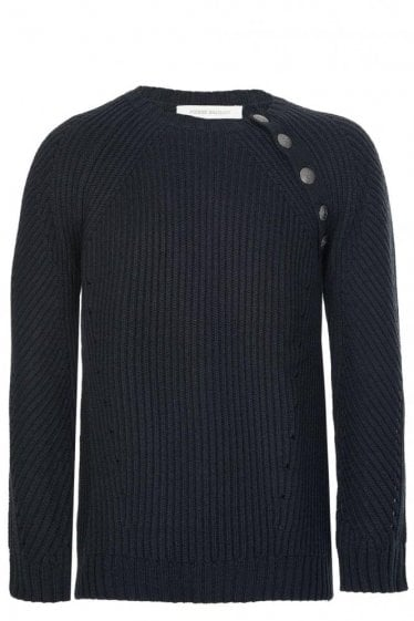 Pierre Balmain Asymmetric Buttons Knitted Jumper Black