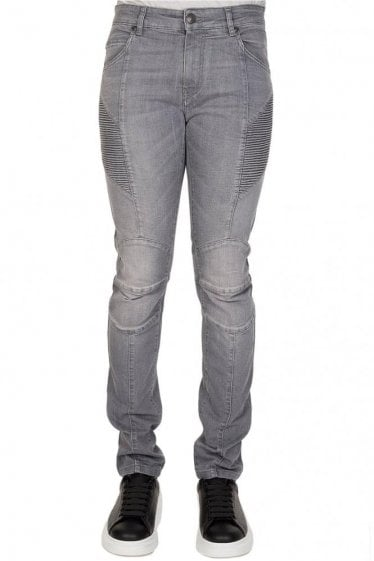 Pierre Balmain Cotton Biker Jeans Grey