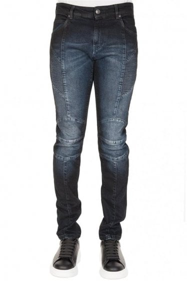 Pierre Balmain Cotton Biker Jeans Navy