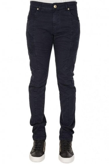 Pierre Balmain Cotton Biker Trousers Navy