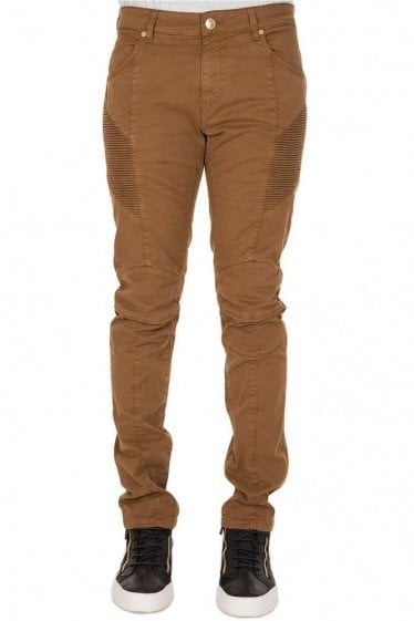 Pierre Balmain Cotton Biker Trousers Stone