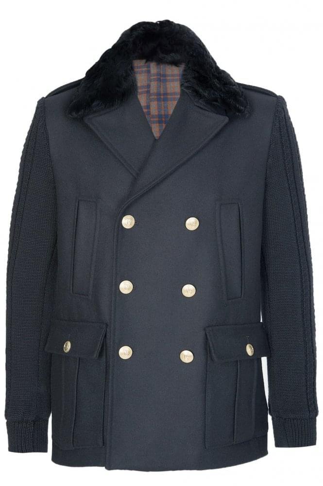Pierre Balmain Double-Breasted Wool Coat Black