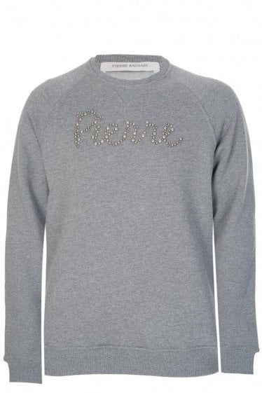 Pierre Balmain Studded Logo Sweatshirt Grey