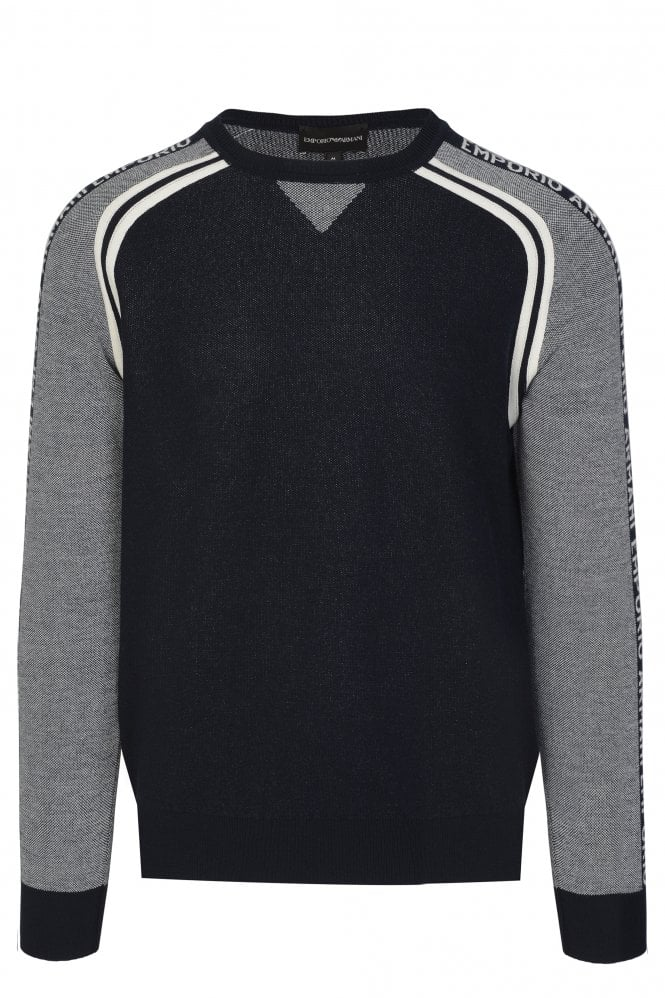 Men's Piquet Woolblend Sweater With Oversized Jacquard Eagle