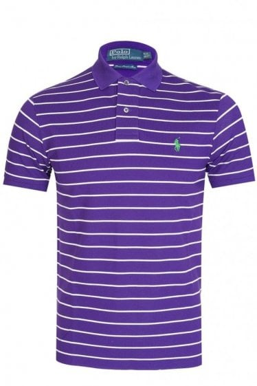 Polo Ralph Lauren Custom-Fit Striped Polo Purple