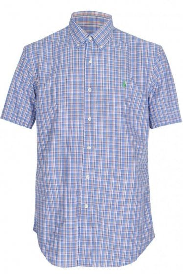 Polo Ralph Lauren Slim Fit Checkered Poplin Shirt Blue