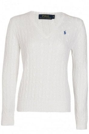 Ralph Lauren Polo Womens Kimblerly Cable Knit V Neck Jumper White