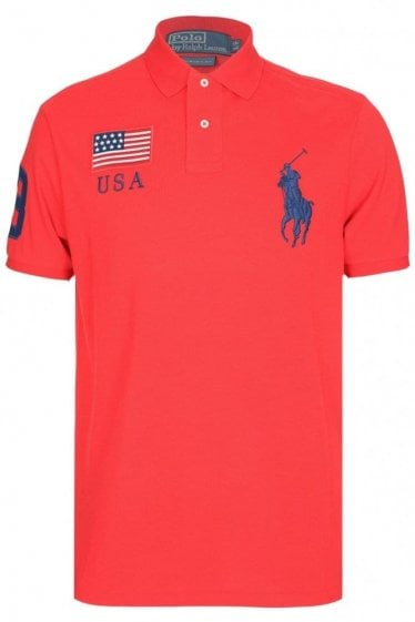 Ralph Lauren USA Custom-Fit Mesh Polo Red
