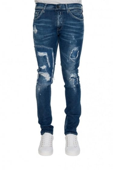Replay 5 Pocket Skinny Stretch Distressed Jeans Blue