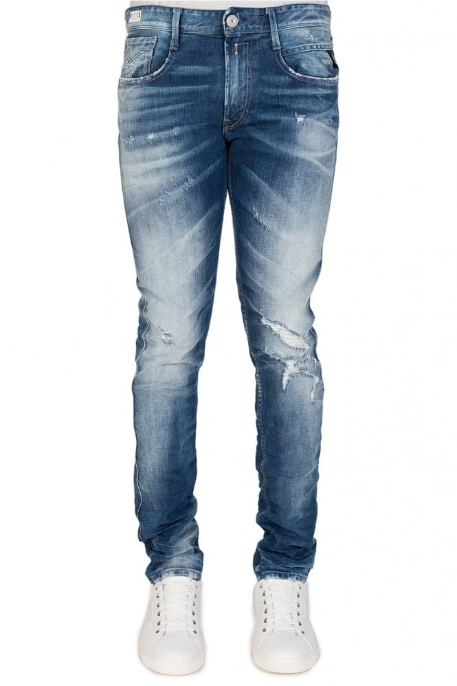 REPLAY 5 Pocket Slim Fit Distressed Jeans Blue