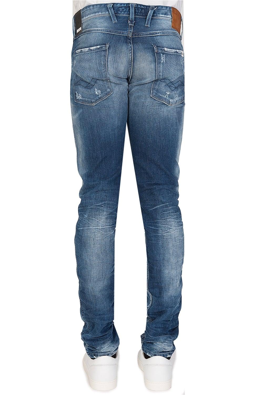replay 5 pocket slim fit distressed jeans blue. Black Bedroom Furniture Sets. Home Design Ideas