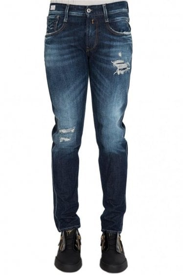 Replay Anbass Back Zip Slim Fit Distressed Jeans Blue