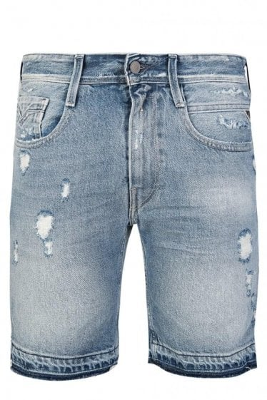 Replay Anbass Distressed Slim Fit Denim Shorts Blue
