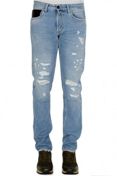 Replay Straight Fit Ripped Jeans