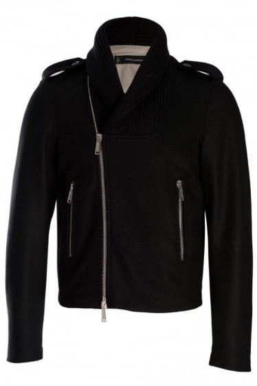 Dsquared Knitted Shawl Collar Black Jacket