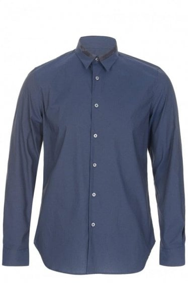 Paul Smith PS Patchwork Contrast Collar Shirt Navy