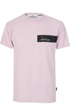 Stone Island Block Stripe Pocket T-Shirt Pink
