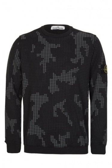 Stone Island Check Grid Sweatshirt Black