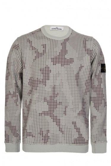 Stone Island Check Grid Sweatshirt Grey