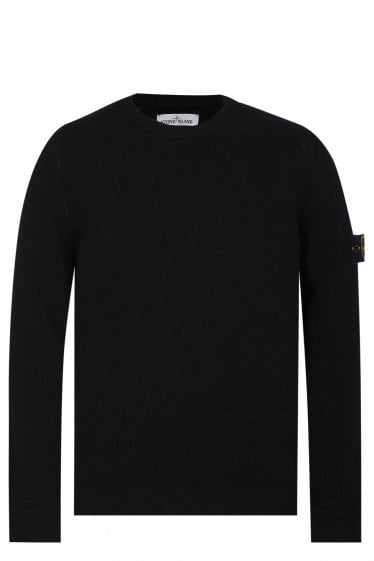 Stone Island Classic Lambswool Knitted Jumper Black