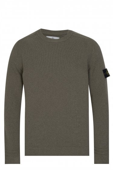 Stone Island Classic Lambswool Knitted Jumper Green