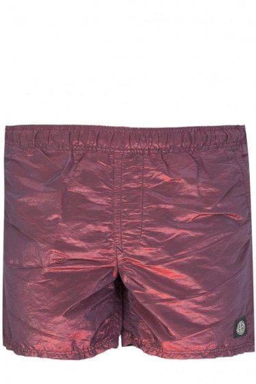 Stone Island Colour Watro Swim Shorts Burgundy