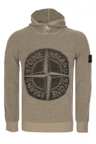 Stone Island Compass Logo Knitted Hoodie Stone