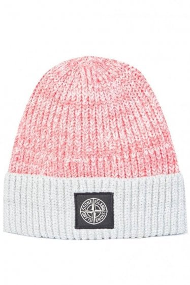 Stone Island Contrast Fold Beanie Coral