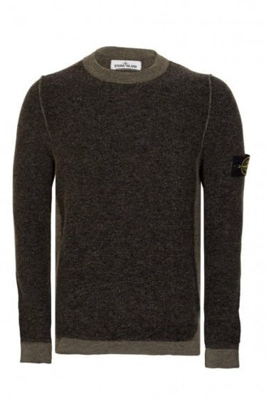 Stone Island Contrast Panel Knitted Jumper Khaki
