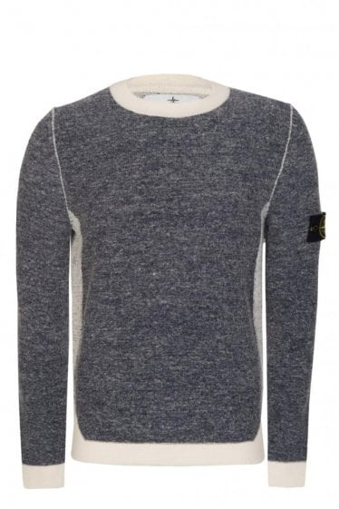 Stone Island Contrast Panel Knitted Jumper Navy