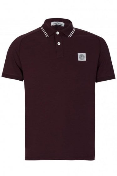 Stone Island Contrast Tipped Polo Burgundy