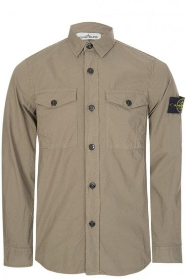 Stone Island Cotton Stretch Khaki Shirt