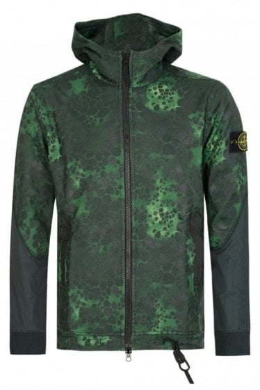 Stone Island Green Alligator Camo Hooded Top