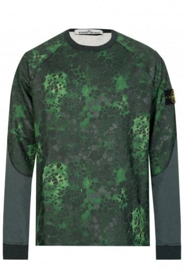 Stone Island Green Alligator Camo Sweatshirt