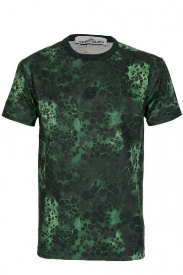 Stone Island Green Alligator Camo T-shirt