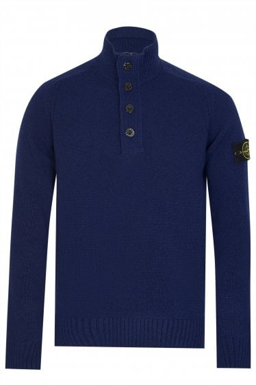 Stone Island Knitted Navy Wool-Blend Jumper